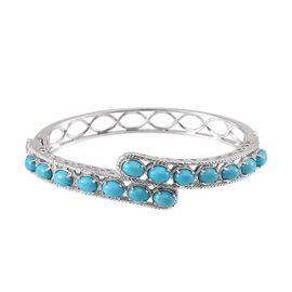 Arizona Sleeping Beauty Turquoise (Ovl) Bangle in Platinum Overlay Sterling Silver (Size 7.5) 6.750 Ct.