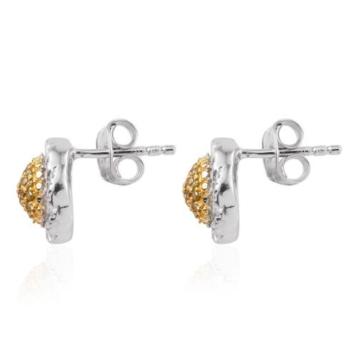 Yellow Diamond (Rnd) Stud Earrings (with Push Back) in Platinum Overlay Sterling Silver 0.200 Ct.