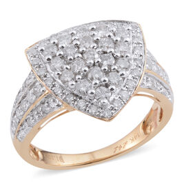 New York Close Out Deal - Statement Collection Designer Inspired 14K Y Gold Diamond (Rnd) Cocktail Ring 1.100 Ct.