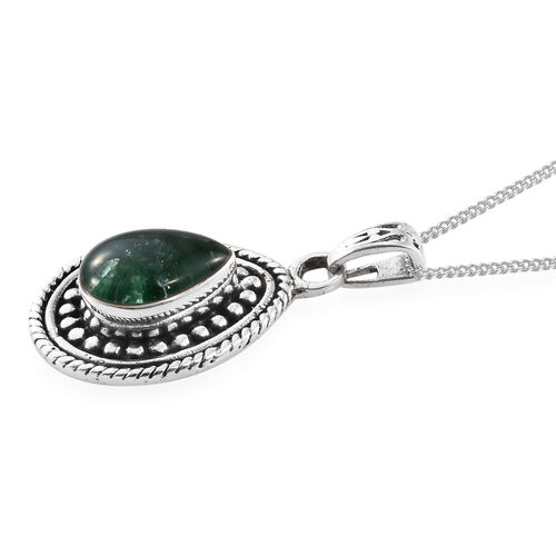 Brazilian Emerald Pendant with Chain in Sterling Silver 1.960 Ct. Sterling Silver Wt. 6.5 Gms