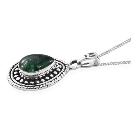 Brazilian Emerald Pendant with Chain in Sterling Silver 1.960 Ct. Sterling Silver Wt. 6.15 Gms