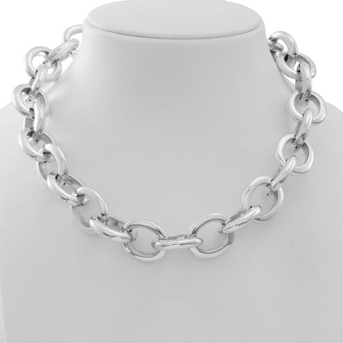 Statement Collection Sterling Silver Fancy Belcher Necklace (Size 20), Silver wt 128.94 Gms.