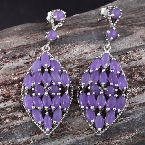 Purple Jade (Mrq) Earrings (with Push Back) in Platinum Overlay Sterling Silver 10.000 Ct.