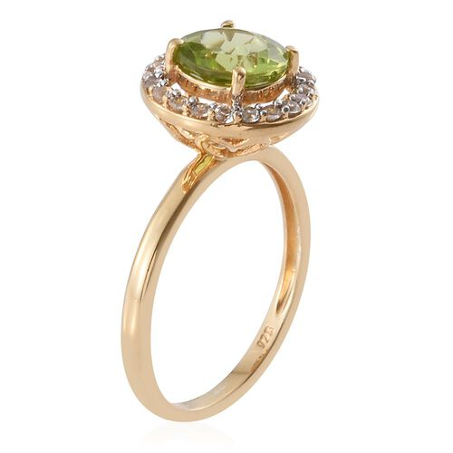Hebei Peridot, Natural Cambodian Zircon 2.80 Ct Silver Halo Ring in 14K Gold Overlay