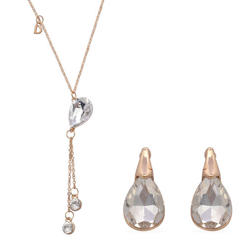 Simulated Diamond Necklace (Size 18) and Earrings in Gold Tone