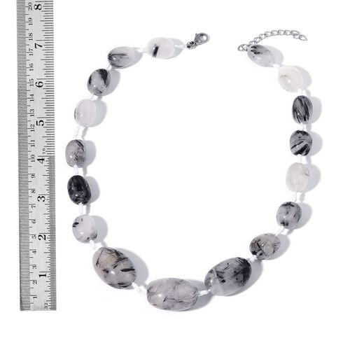 Brazilian Organic Shape Rutile Quartz Necklace (Size 18 with 2  inch Extender) 538.000 Ct.