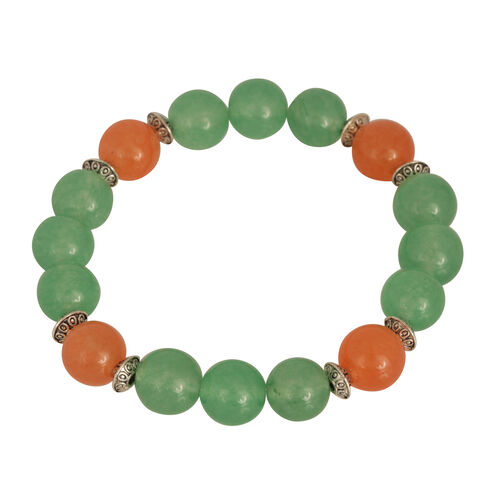Dyed Green and Orange Colour Quartzite (Rnd) Stretchable Bracelet (Size 7)  110.700 Ct.