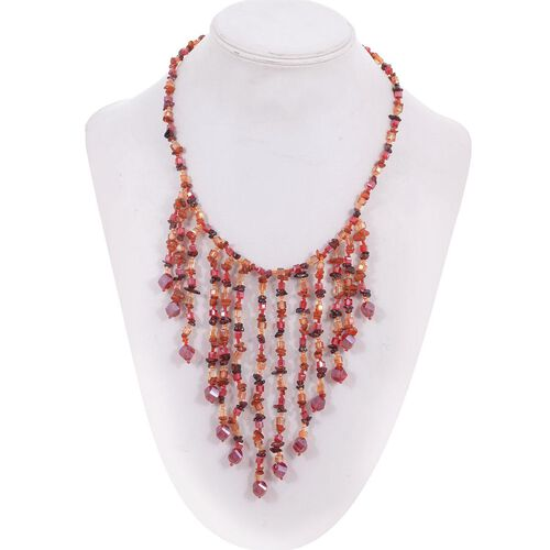 Jewels of India Mozambique Garnet, Carnelian and Glass Necklace (Size 20) in Silver Tone 192.710 Ct.