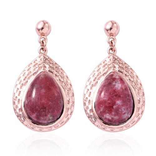 Norwegian Thulite (Pear) Earrings (with Push Back) in Rose Gold Overlay Sterling Silver 12.000 Ct.