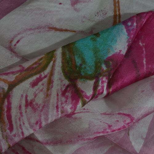 100% Mulberry Silk Pink, White and Multi Colour Handscreen Floral Printed Scarf (Size 180X50 Cm)