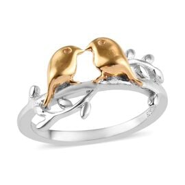 Bird Couple Silver Ring in 2 Tone Platinum and Yellow Gold Overlay, Silver wt. 2.49 Gms.