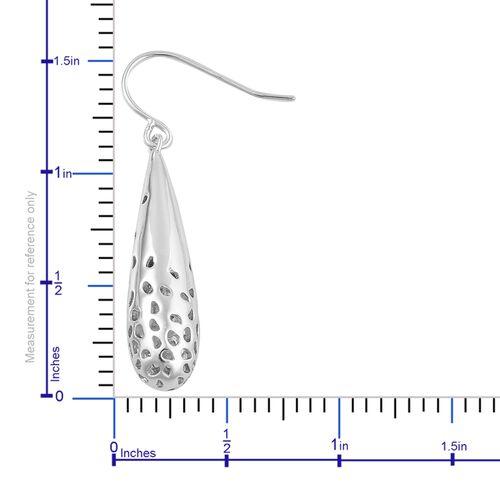 RACHEL GALLEY Rhodium Plated Sterling Silver Lattice Drop Hook Earrings, Silver wt. 6.05 Gms.