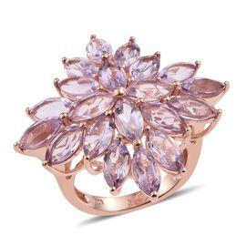 Rose De France Amethyst (Mrq) Cluster Ring in Rose Gold Overlay Sterling Silver 9.750 Ct.