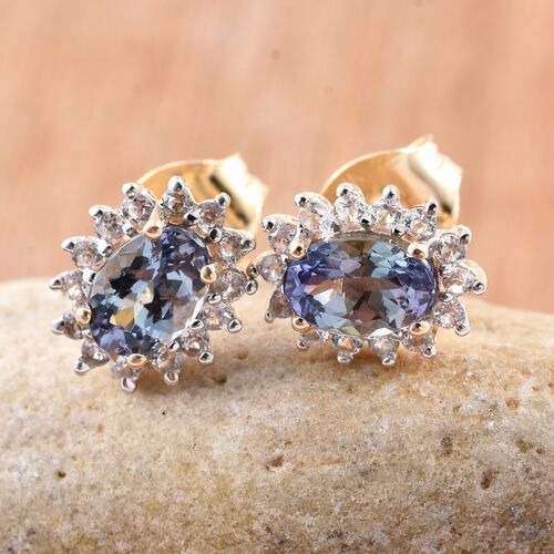 9K Y Gold Peacock Tanzanite (Ovl), Natural Cambodian Zircon Earrings 1.250 Ct.