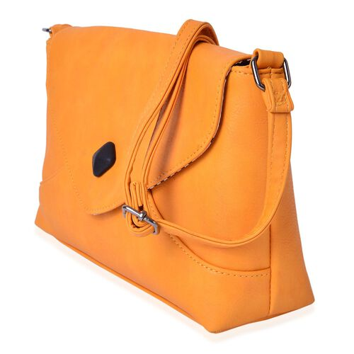 Yellow Colour Envelope Design Crossbody Bag with Adjustable Shoulder Strap (Size 27X17.5X8 Cm)