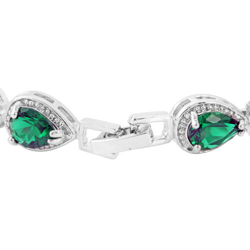 JCK Vegas Collection AAA Simulated Emerald (Pear) Bracelet (Size 7) in Silver Bond