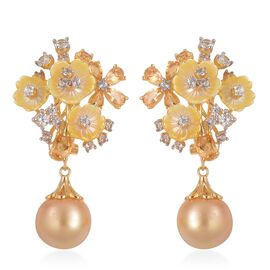 South Sea Golden Pearl (Rnd 11.5-12mm), Yellow Mother of Pearl, Citrine and Natural White Cambodian Zircon Earrings(with French Clip)in Yellow Gold Overlay Sterling Silver 31.620 Ct.Silver wt 5.87Gms.