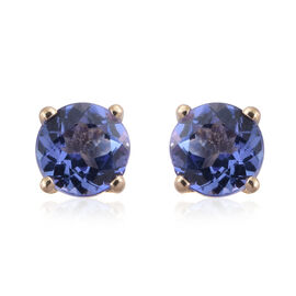9K Yellow Gold 1 Ct AA Tanzanite Stud Earrings (with Push Back)