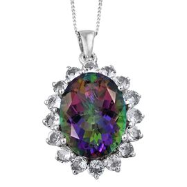 Northern Lights Mystic Topaz (Ovl 8.75 Ct), White Topaz Pendant with Chain in Platinum Overlay Sterling Silver 10.850 Ct.