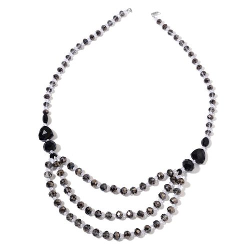 Black Tourmaline Colour Necklace (Size 26) and Stretchable Bracelet (Size 6.5) in Silver Tone