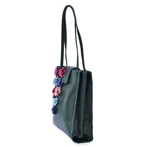 (LIMITED COLLECTION) Multi Colour 3D Floral Pattern Green Colour Tote Bag with Buckle Flap (Size 30x27x8 Cm)