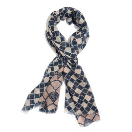 100% Merino Wool Dark Blue, Pink and Off White Colour Abstract Pattern Scarf with Fringes (Size 170X70 Cm)
