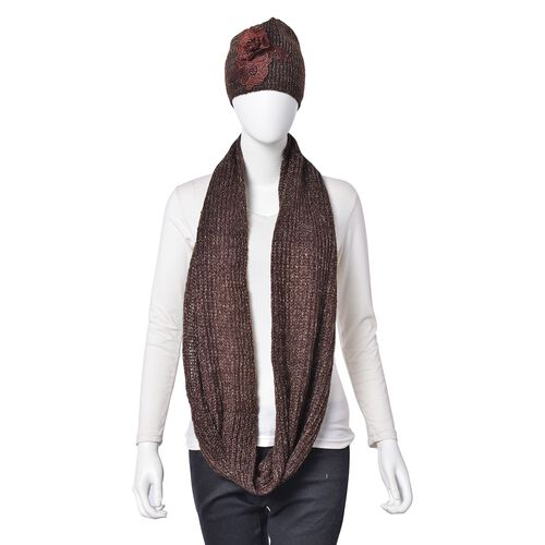Chocolate Colour Knitted Infinity Scarf and Flower Adorned Hat