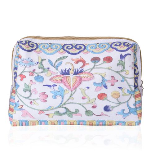 Set of 2 - White, Blue and Multi Colour Floral Pattern Cosmetic Bag (Size Large 26X17X9 Cm and Small 15X11X7 Cm)