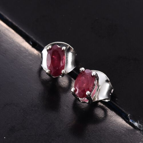 African Ruby (Ovl) Stud Earrings (with Push Back) in Platinum Overlay Silver 0.500 Ct.