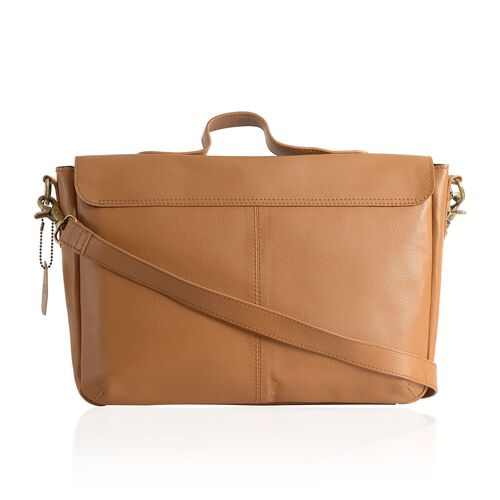 Genuine Leather Tan Colour Satchel Bag with Removable Shoulder Strap (Size 35 X 25 X 8 CM)