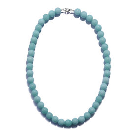 One Time Deal- Rare Size Amazonite Colour Quartz (Rnd 8MM) Sterling Silver Beads Necklace (Size 18)  330.000 Ct.