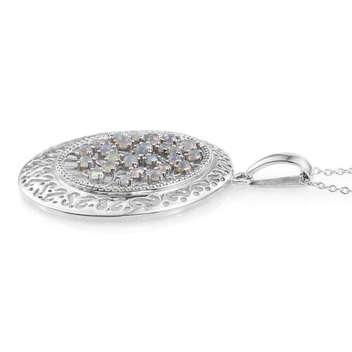 Ethiopian Welo Opal (Rnd) Pendant With Chain in Platinum Overlay Sterling Silver 1.000 Ct.