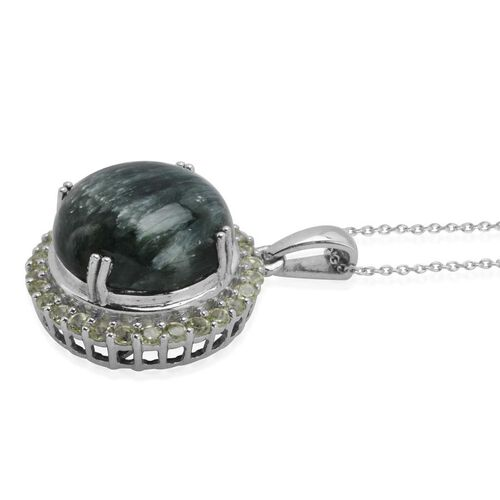 Siberian Seraphinite (Rnd 10.00 Ct), Hebei Peridot Pendant With Chain in Platinum Overlay Sterling Silver 10.750 Ct.