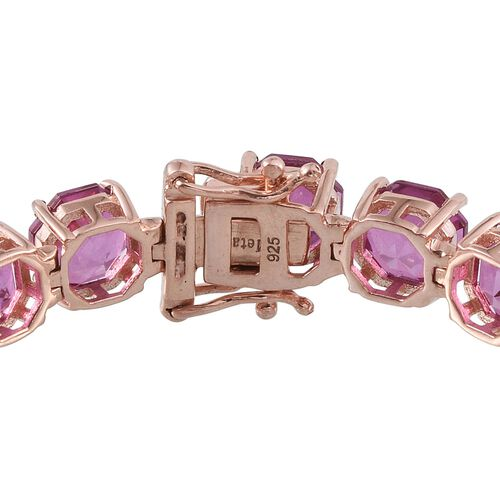 Kunzite Colour Quartz (Octillion Cut) Bracelet (Size 7.5) in Rose Gold Overlay Sterling Silver 54.500 Ct.
