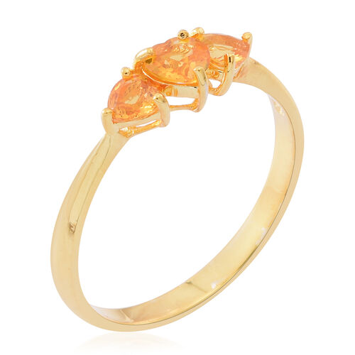 Yellow Sapphire (Hrt 0.50 Ct) 3 Stone Ring in 14K Yellow Gold Overlay Sterling Silver 1.000 Ct.