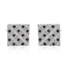 0.35 Ct Blue Diamond Cufflinks in Platinum Plated Silver 13.28 grams