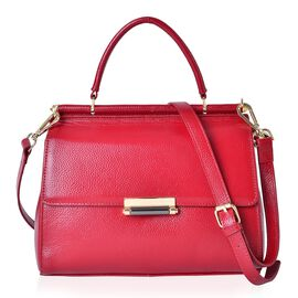 Richmond Genuine Leather True Red Colour Tote Bag with Adjustable and Removable Shoulder Strap (Size 27X21.5X11.5 Cm)