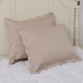 Set of 2 - Luxury Satin Woven Oxford Pillow Shams with Circles Embroidery in Mermaid Light Gold Colour (50x70 cm)