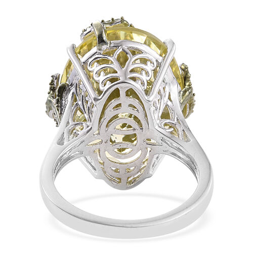 Natural Green Gold Quartz (Ovl), Green Diamond Leaves Ring in Platinum Overlay Sterling Silver 17.250 Ct.