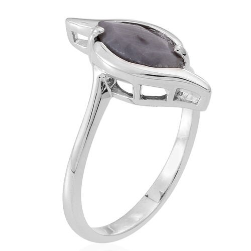 Natural Silver Sapphire (Mrq) Solitaire Ring in Rhodium Plated Sterling Silver 2.000 Ct.