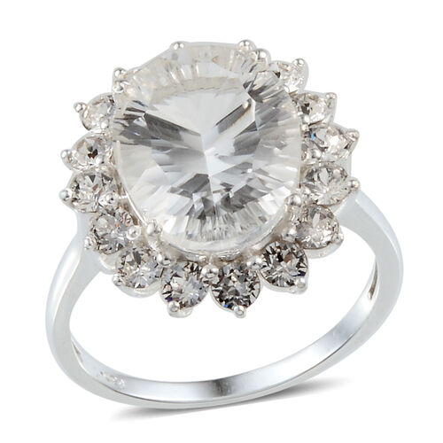 White Austrian Crystal (Ovl) Ring in Sterling Silver