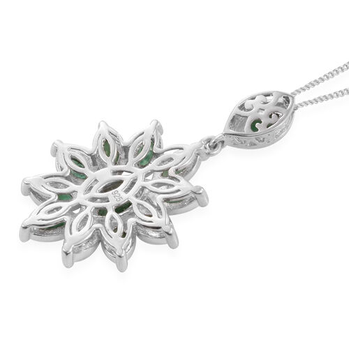 Kagem Zambian Emerald (Mrq) Floral Pendant with Chain in Platinum Overlay Sterling Silver 2.000 Ct.