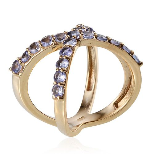 Tanzanite (Rnd) Criss Cross Ring in 14K Gold Overlay Sterling Silver 1.500 Ct.