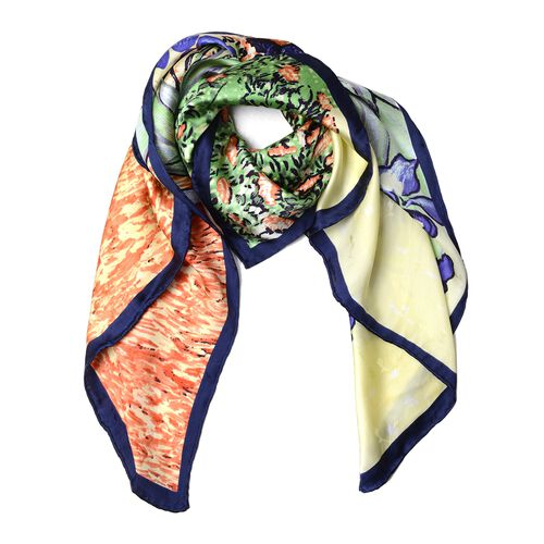 100% Mulberry Silk Purple, Blue, Green and Multi Colour Irises Flower Printed Scarf (Size 86x86 Cm) (Weight 35 Gms)