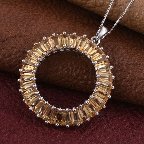 Citrine (Bgt) Circle of Life Pendant with Chain in Platinum Overlay Sterling Silver 6.750 Ct.