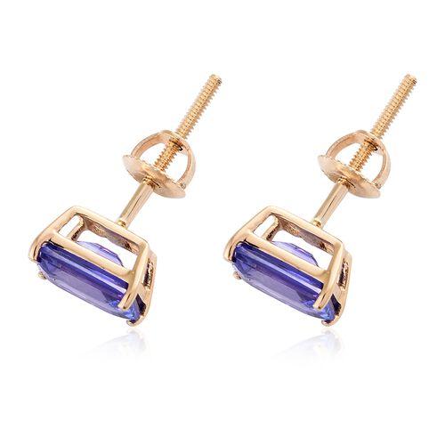 ILIANA 18K Yellow Gold 2 Ct AAA Tanzanite Stud Earrings (with Screw Back)