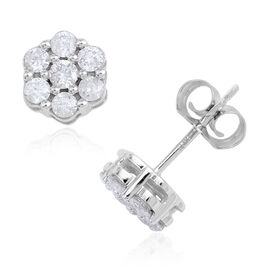 One Time Deal - 14K W Gold Brilliant Cut Diamond (Rnd) Floral Stud Earrings (with Push Back) 0.500 Ct.