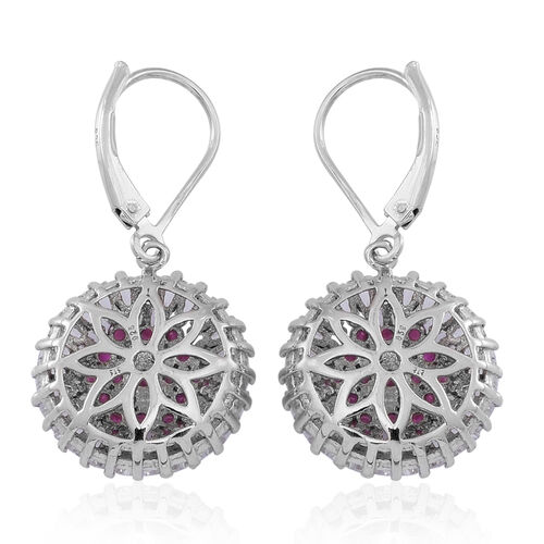 Burmese Ruby (Rnd), White Topaz Lever Back Earrings in Rhodium Plated Sterling Silver 4.500 Ct.