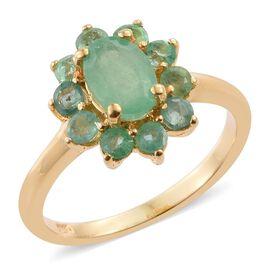 Boyaca Colombian Emerald (Ovl), Kagem Zambian Emerald Ring in 14K Gold Overlay Sterling Silver 1.250 Ct.