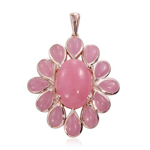 Pink Jade (Ovl) Pendant in Rose Gold Overlay Sterling Silver 28.750 Ct.